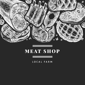 Vintage vleesproducten ontwerpsjabloon. handgetekende ham, worst, jamon, specerijen en kruiden. retro illustratie op schoolbord. kan worden gebruikt voor restaurantmenu.