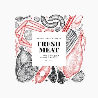 Vintage vleesproducten sjabloon.