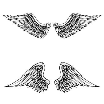 Vintage vleugels op witte achtergrond.