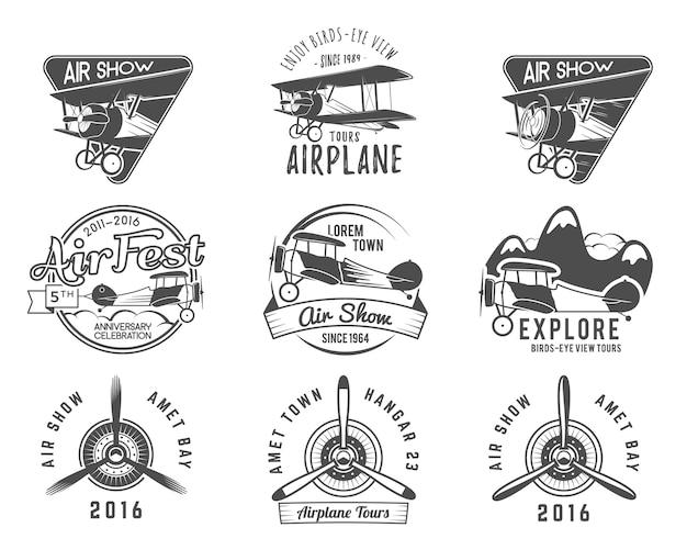 Vintage vliegtuig emblemen.