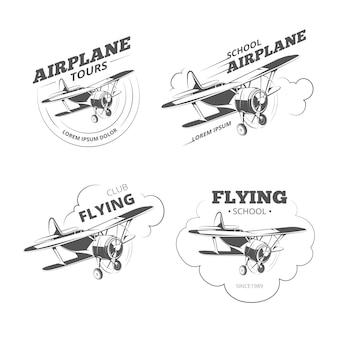 Vintage vliegtuig of vliegtuiglogo's. luchtvaart retro emblemen