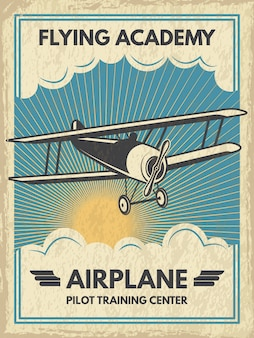 Vintage vliegtuig poster. illustratie. retro banner met vliegtuigvlieg