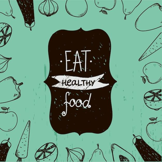 Vintage voedsel illustratie, eet gezond voedsel. eten in de buurt. gebruik voor menu, advertentie, als poster, kaart, flyer enz