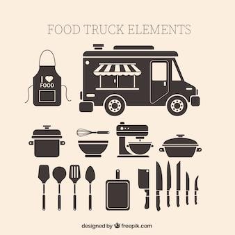 Vintage voedsel vrachtwagen elementen