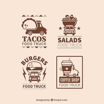 Vintage voedsel vrachtwagen logos