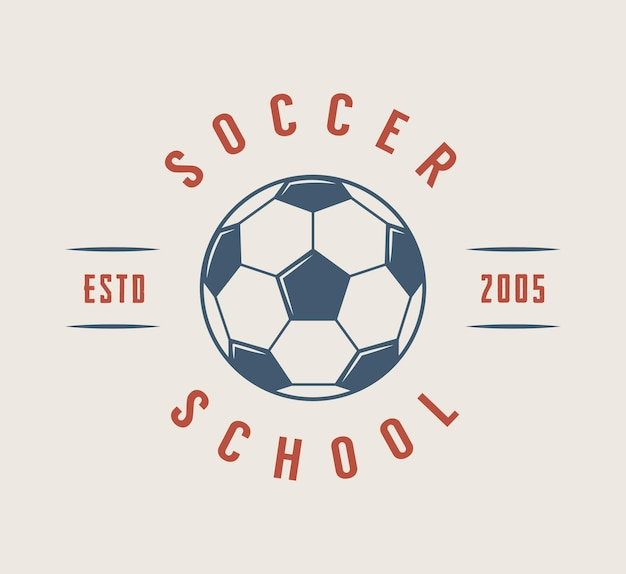 Vintage voetbal of voetbal logo, embleem, badge. vector illustratie. grafische kunst.