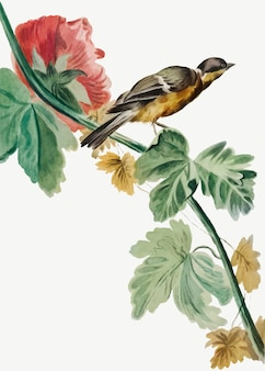 Vintage vogel op bloemtak illustratie