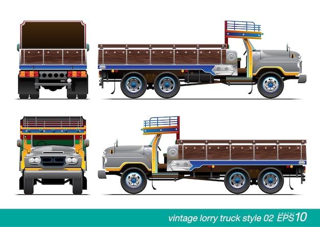 Vintage vrachtwagen met vrachtwagen