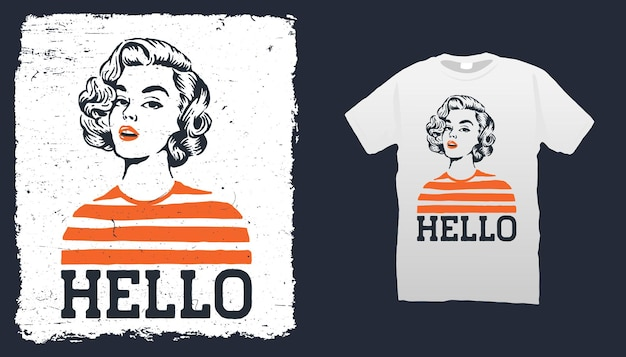 Vintage vrouw t-shirt sjabloon