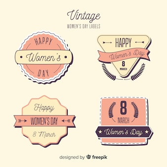 Vintage vrouwendag badge collectie
