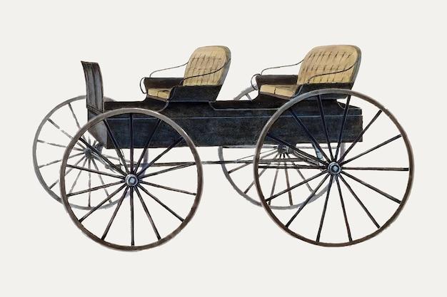 Vintage wagen vectorillustratie, opnieuw gemengd van het kunstwerk door fred weiss.