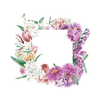Vintage weatercolor bloemenornamenten