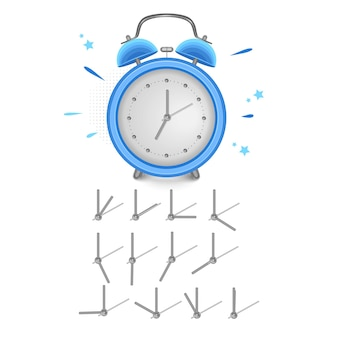 Vintage wekker toont 7 uur geïsoleerd op een witte achtergrond