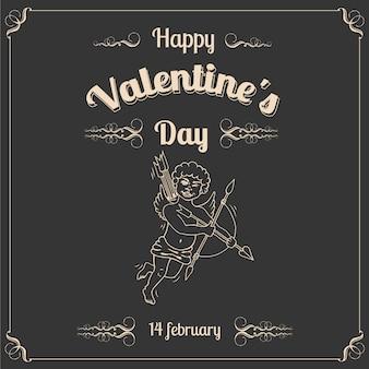 Vintage wenskaart valentijnsdag met cupido