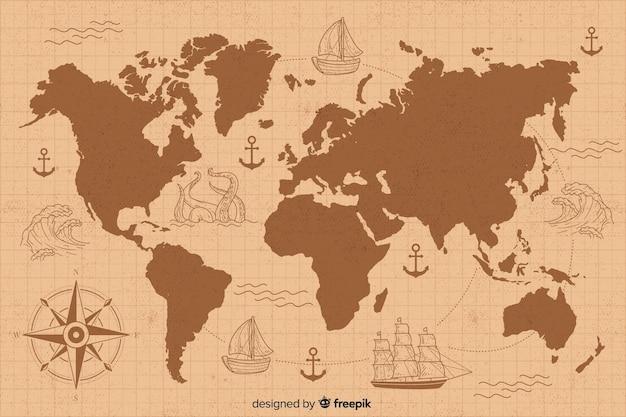 Vintage wereldkaart met tekening