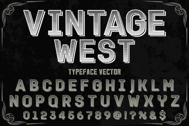 Vintage west lettertype labelontwerp