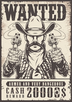 Vintage western wilde zwart-wit poster