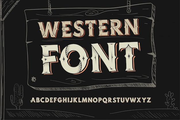 Vintage westerse lettertype