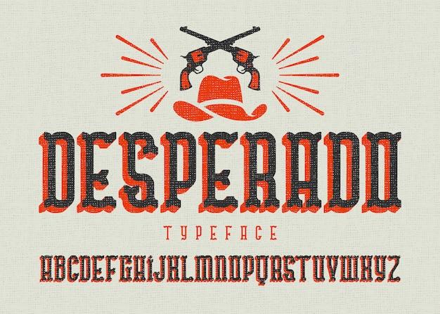 Vintage westerse lettertypeset