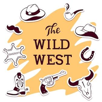 Vintage westerse vectorillustratie met koptekst het wilde westen en set accessoire op kleur achtergrond. cowboystijl in lijnstijl voor web, site, spandoek, poster