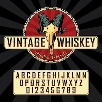 Vintage whisky label lettertype met labelontwerp voorbeeld in vintage stijl