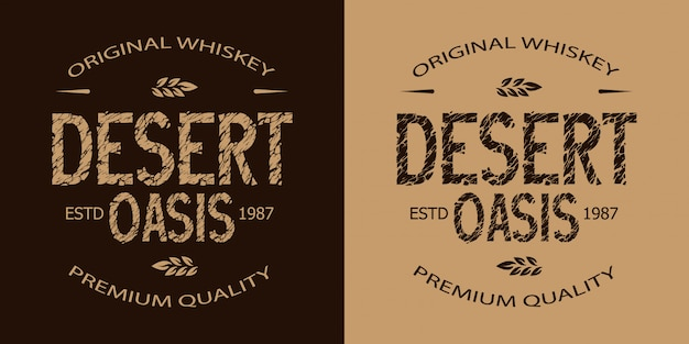 Vintage whisky monochroom embleem set