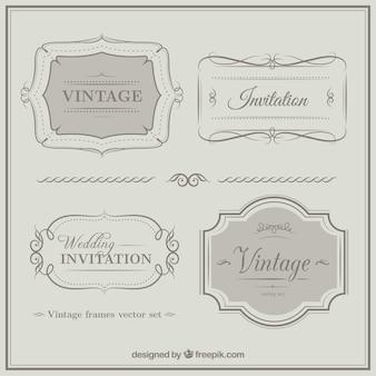 Vintage wieden uitnodiging ornamenten
