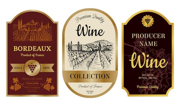 Vintage wijnetiketten. alcohol badges met foto's van wijngaard kasteel dorp bordeaux label collectie
