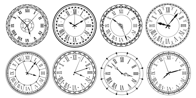 Vintage wijzerplaat. retro wijzerplaat met romeinse cijfers, sierlijk horloge en antiek horlogeontwerp
