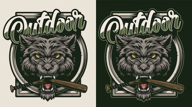 Vintage wild dier kleurrijke badge