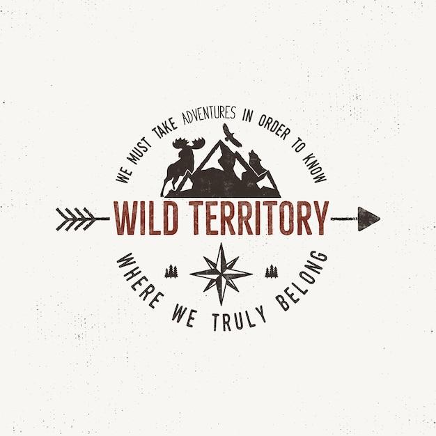 Vintage wild embleem. retro illustratie van wildernis.