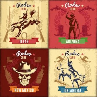 Vintage wild west-emblemen