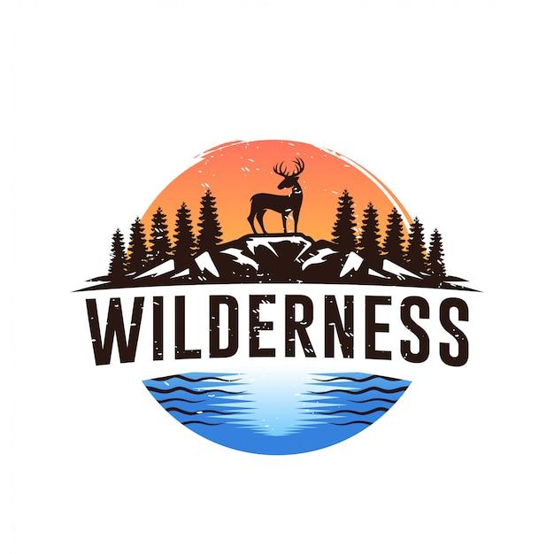 Vintage wilde natuur herten label en logo sjabloon