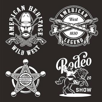 Vintage wilde westen badges instellen