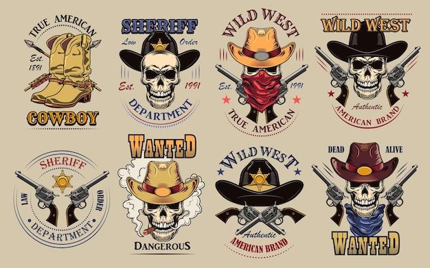 Vintage wilde westen etiketten instellen