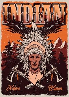 Vintage wilde westen kleurrijke poster
