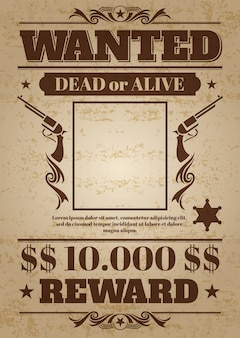 Vintage wilde western poster met lege ruimte voor criminele foto. vector mockup