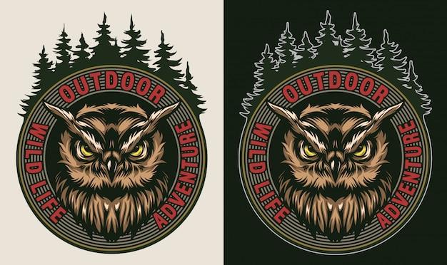 Vintage wildlife kleurrijke badge