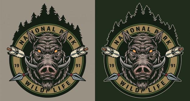 Vintage wildlife kleurrijke ronde badge