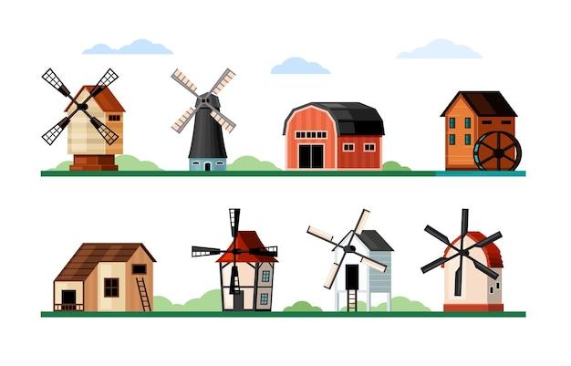 Vintage windmolens instellen. houten en bakstenen gebouwen met messen voor het malen van meel, rustiek oud ontwerp en door lucht aangedreven traditionele architectuur met water- en elektrische turbine. vector landbouw plat.