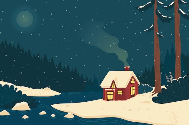 Vintage winterlandschap