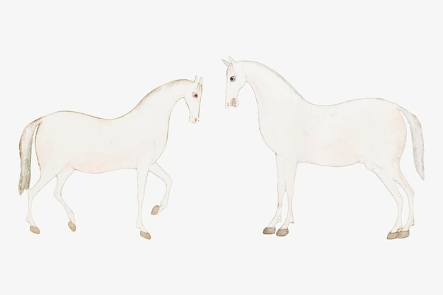 Vintage witte aziatische paarden