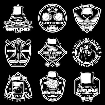 Vintage witte gentleman labels set