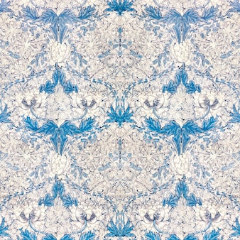 Vintage witte papaverbloem met blauw bladerenpatroon