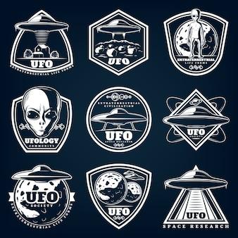 Vintage witte ufologie etiketten instellen