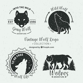 Vintage wolven logo's