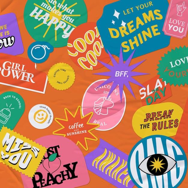 Vintage woord sticker achtergrond papier textuur