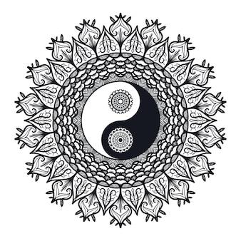 Vintage yin en yang in mandala. tao-symbool voor afdrukken, tatoeage, kleurboek, stof, t-shirt, yoga, henna, doek in boho-stijl. mehndi, occult en tribaal, esoterisch en alchemieteken. vector