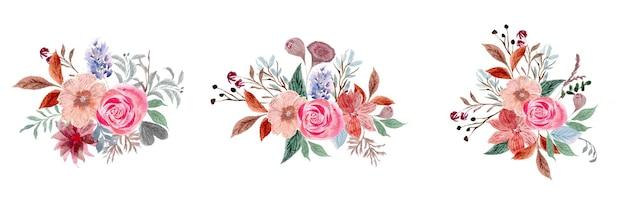 Vintage zachte roze bloemen aquarel krans