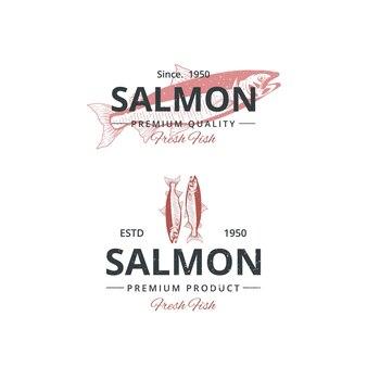 Vintage zalm vis logo sjabloon voor restaurant